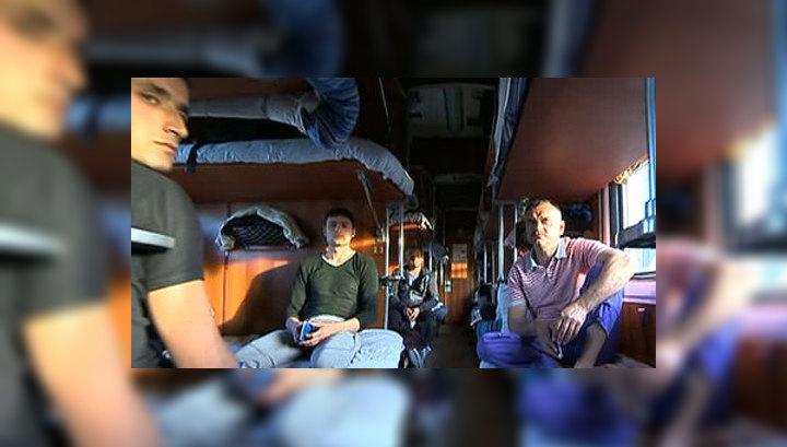 Сняли на камеру в поезде
