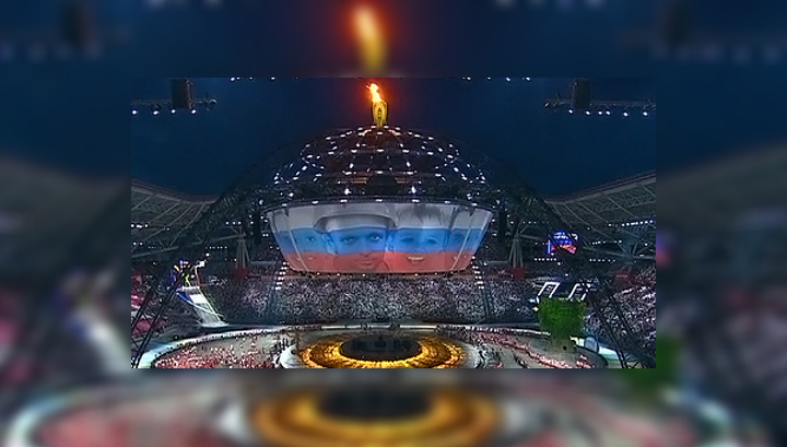 Церемония закрытия Универсиады началась с гимна России
