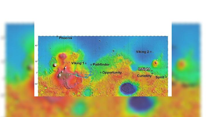 Карта высот Марса с отметками спускаемых аппаратов