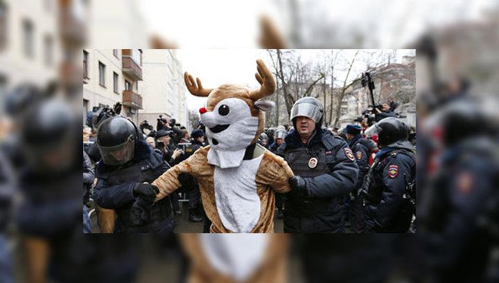 Вместе с Навальным и Яшиным в Москве задержали людей в костюмах лосей