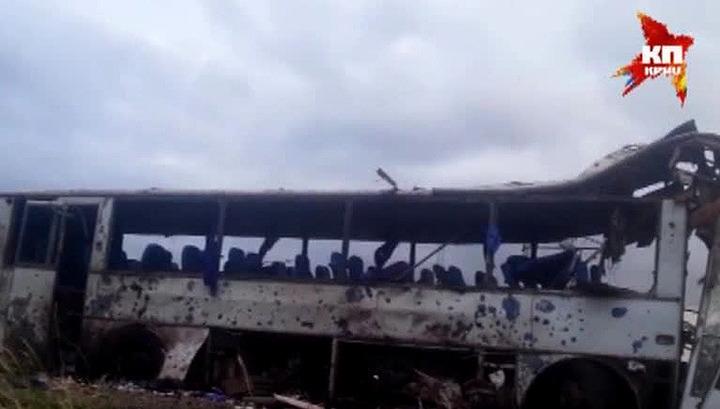 Бойцы украинской Нацгвардии обстреляли и сожгли автобус с гуманитарной помощью