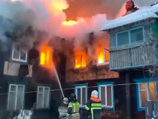 Появилось видео крупного пожара в Уфе