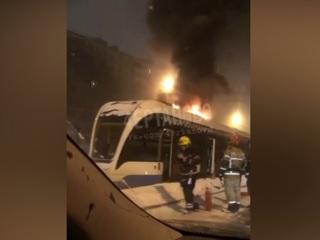 Трамвай загорелся на юге Москвы