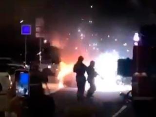 В центре Москвы сгорел Ferrari