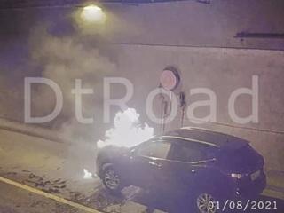 В Лефортовском тоннеле вспыхнула машина