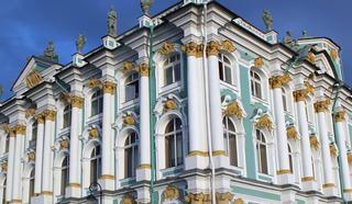 Исторический Зимний дворец со стороны Дворцовой площади. Архитектор Б.Растрелли. С 1914года – госпиталь, затем официальная резиденция Временного правительства.