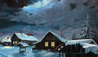 """Картина. """"Зима в деревне"""" Пасичник Владимир Семёнович."""