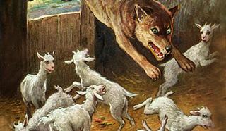 """фрагмент иллюстрации к сказке """"Волк и семеро козлят"""", художник - Oskar Herrfurth / Public domain"""