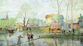 """Борис Кустодиев, """"Весна"""",  (1878-1927 гг.) Холст, масло."""