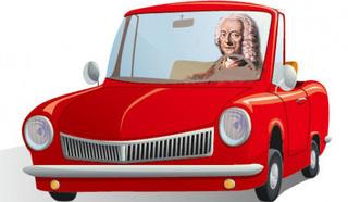 Георг Филипп Телеман за рулем автомашины
