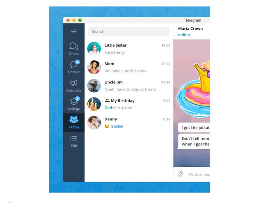 Как использовать разделение чатов по категориям в Telegram | 683x900