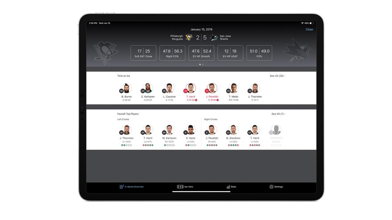 Приложение для iPad позволит следить за действиями хоккеистов