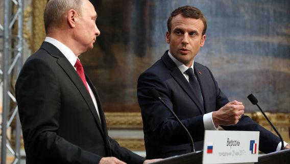 Встреча Путина и Макрона в Версале в 2018 году