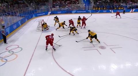 XXIII Зимние Олимпийские игры. Гол Никиты Гусева в ворота сборной Германии
