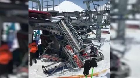 Момент серьезной аварии на канатной дороге в Грузии попал на видео