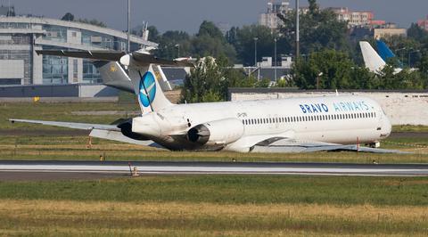 Выкатившийся за пределы ВПП в киевском аэропорту самолет Bravo Airways