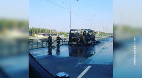 Под Подольском сгорел пассажирский автобус