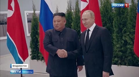 Встреча Путина и Кима закончилась долгим рукопожатием