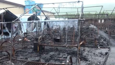 Выгоревший палаточный лагерь под Хабаровском сняли на видео