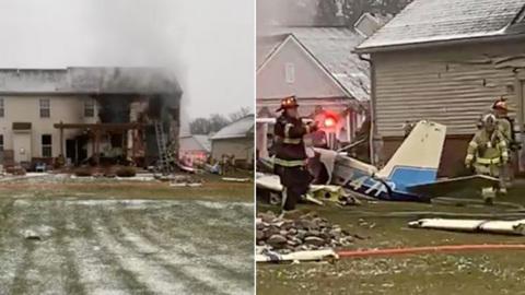 В Мичигане самолет упал на жилой дом, три человека погибли