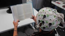 Стимуляция осуществлялась при помощи пяти чёрных электродов. Белые и зелёные электроды считывали ЭЭГ мозга.