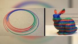 Слева: многоцветная нить, напечатанная из нескольких одноцветных. Справа: многоцветный объект, напечатанный из этой нити.
