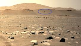 Вертолёт Ingenuity над Марсом. Снимок сделан с борта марсохода Perseverance.