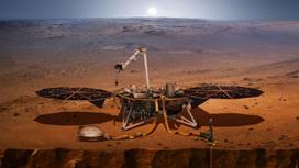 Художественная интерпретация внешнего вида стационарного марсианского зонда InSight.