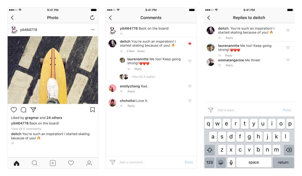 В Инстаграм для андроид иiOS устройств появились «ветки» для комментариев
