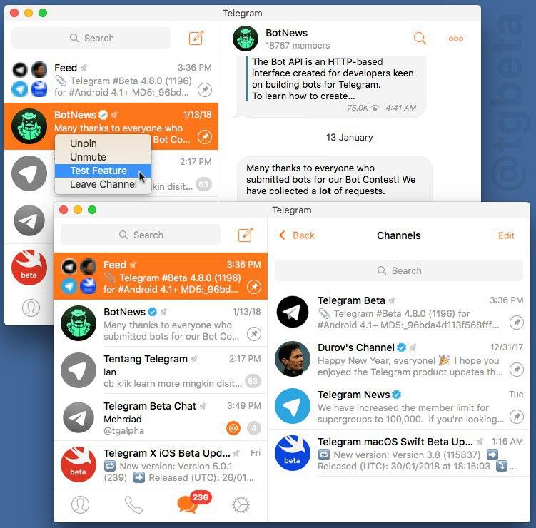 Telegram позволит группировать каналы в«новостную ленту»