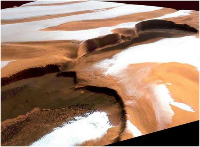 Карманы водяного льда на южном полюсе Марса