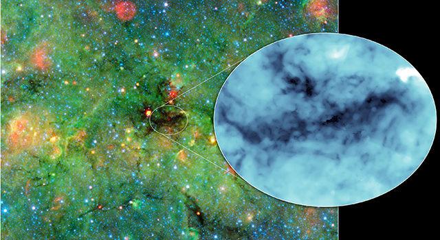"""Снимок облака, сделанный телескопом """"Спитцер"""""""