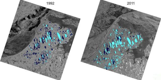 Лёд арктических озёр Аляски уменьшился на 22% с 1992 по 2011 год