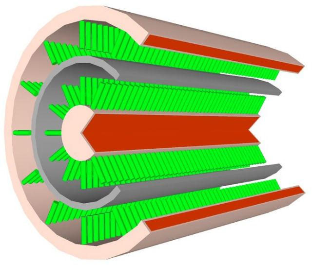 Схематическое изображение провода с нанесёнными на него кристаллами и слоями-обложками