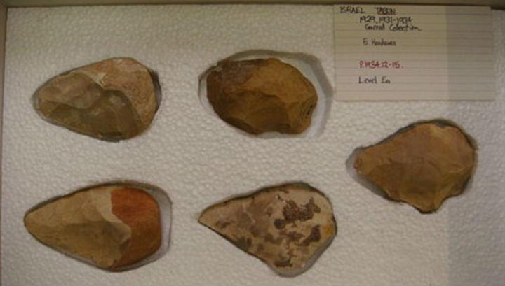 Наконечники орудий труда и оружия, которые использовались обитателями пещеры Табун в разные периоды ранней истории человечества