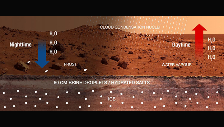 Дневной-ночной цикл гипотетической марсианской воды