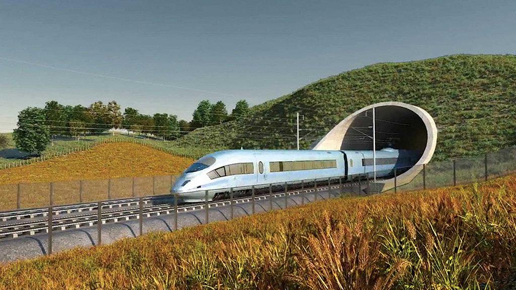 Компьютерная визуализация будущей высокоскоростной ж/д магистрали HS2. Иллюстрация: Universal News and Sports (Europe)