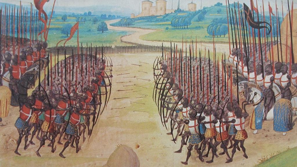 """Миниатюра """"Битва при Азенкуре"""" из хроник Ангеррана де Монстреле, XV век. Общественное достояние."""