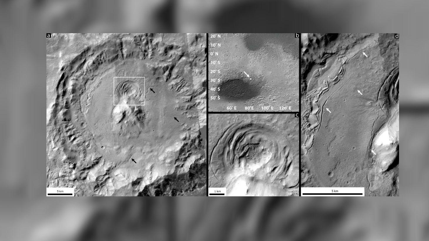 Здесь показана впадина, расположенная внутри кратера на краю равнины Эллада. Новые исследования показывают, что впадина была сформирована в результате вулканической активности под ледяным покровом.