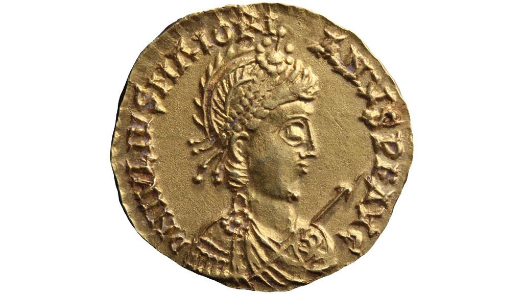 Монета из Линдена: золотой солид с изображением императора Майориана, V век нашей эры. Фото:═Valkhof Museum Nijmegen
