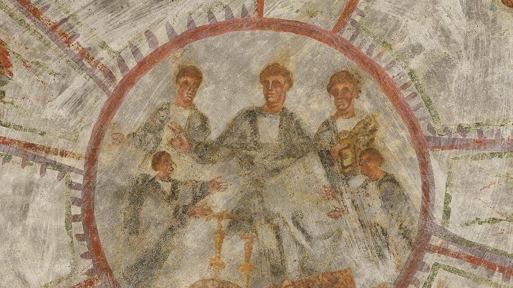 Центральное изображение потолочной фрески в ╚кубикуле пекарей╩: Христос в окружении святых. Фото с сайта thehistoryblog.com