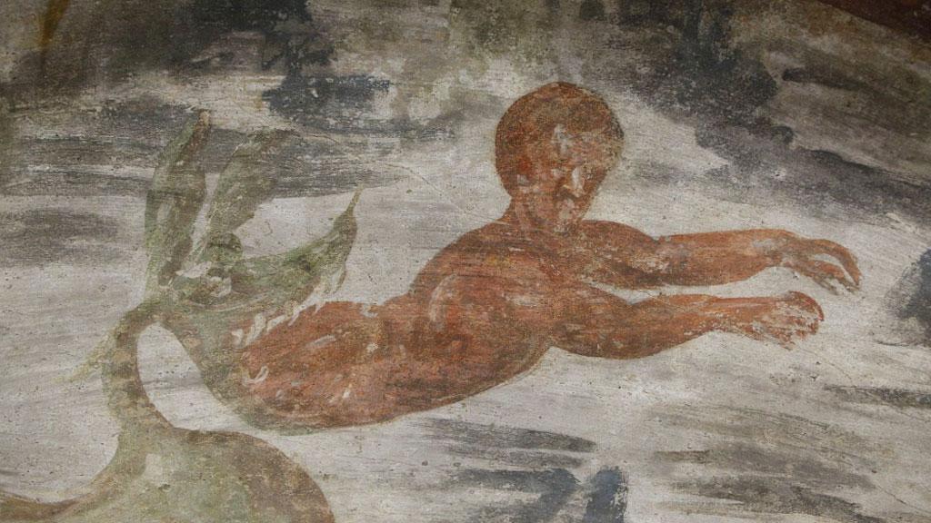 Освобождение пророка Ионы из чрева кита. Фрагмент фрески из ╚кубикулы пекарей╩. Фото: CNS / Carol Glatz