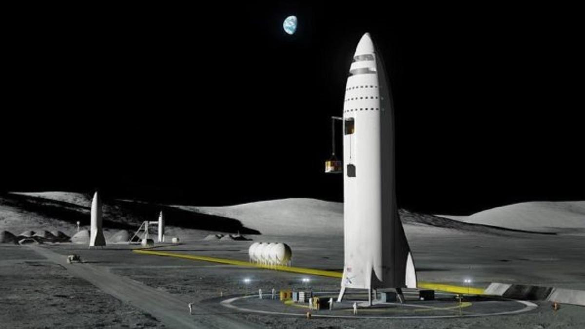 Будущая лунная база SpaceX.