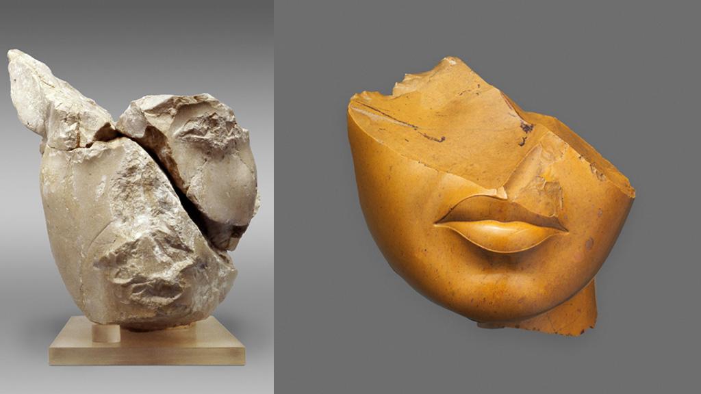 Голова Эхнатона (слева) и голова царицы, Нефертити или Кийе (справа), разбитые разрушителями Амарны. Фото: The Metropolitan Museum of Art
