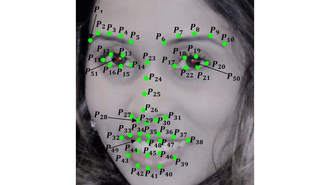 Эксперты обозначили 49 точек на лице человека, за которыми должна следить программа, чтобы отличить мужскую улыбку от женской.