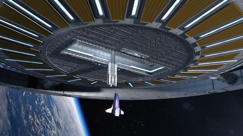 В центре колеса можно сделать шлюз для стыковки космических кораблей.