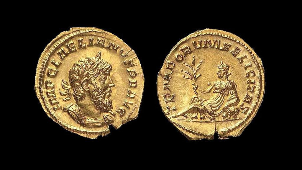 Единственная сохранившаяся золотая монета (ауреус) Лелиана, 268 год. Фото: armstrongeconomics.com