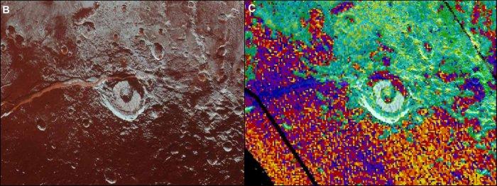 Оптическое (слева) и инфракрасное (справа) изображение района Virgil Fossae.
