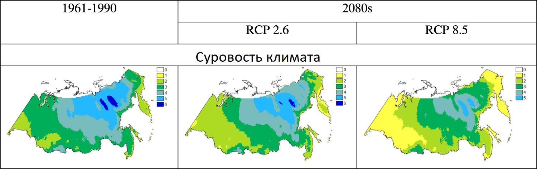 Суровость климата в 1961-1990 годы и по прогнозам на 2080-е.