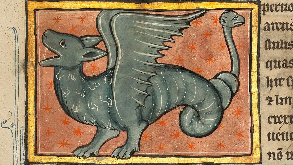 Крылатый дракон, иллюстрация из франко-фламандского манускрипта XIII века. Изображение: Getty's Open Content Program